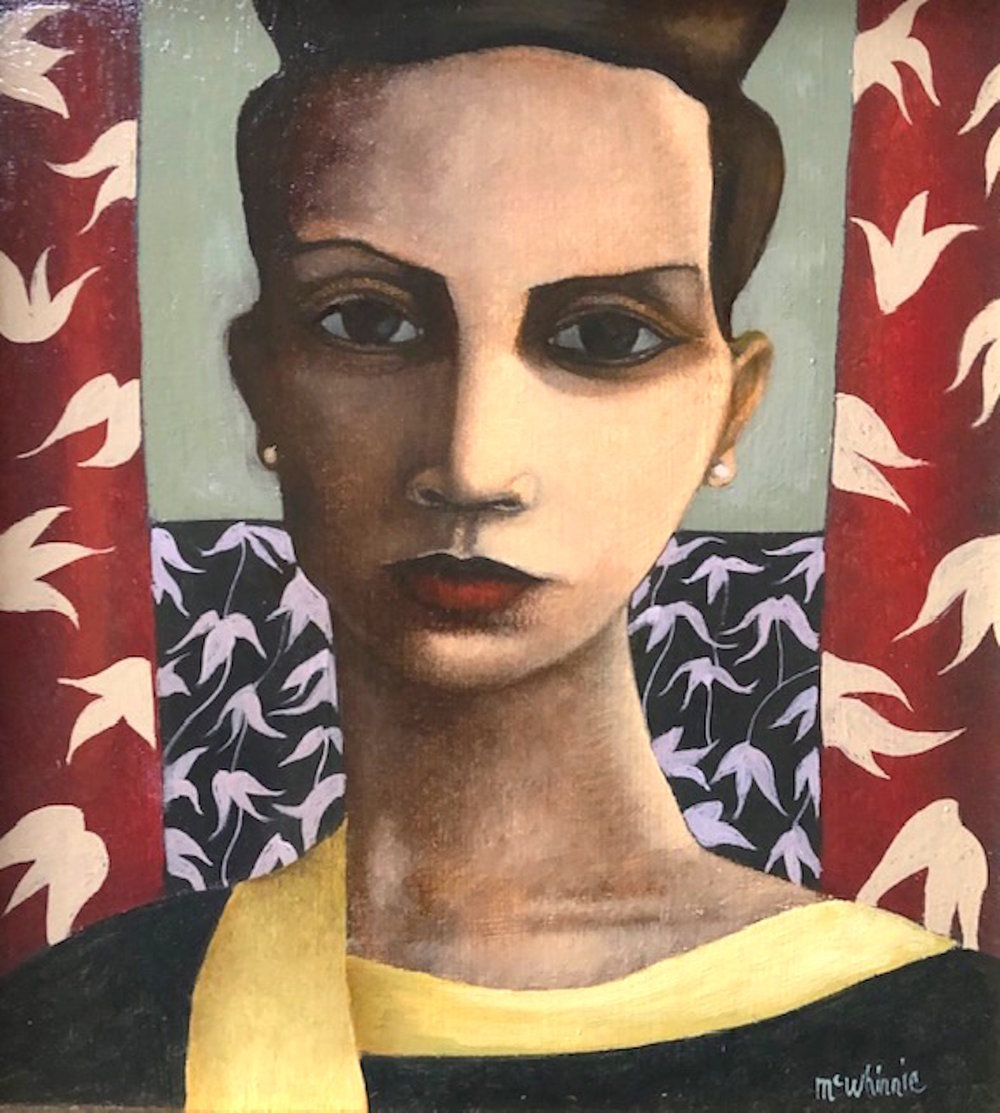 Ian McWhinnie  Title: The Yellow Scarf  Size: 25 x 23 cm  Medium: Oil on board  SOLD
