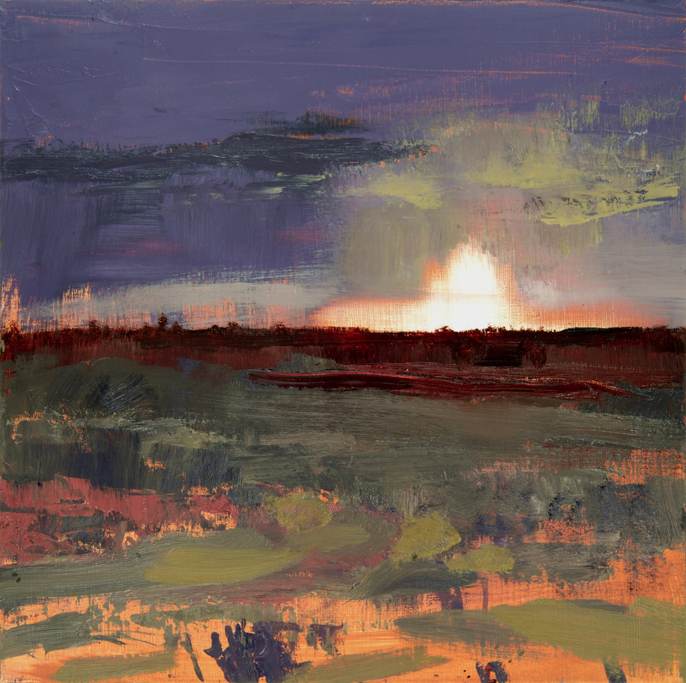 David Scott Moore  Title: Panoramic Landscape, New Forest III  Size: 46 x 46 cm  Medium: Oil on birch panel  Price £1400   Buy Now