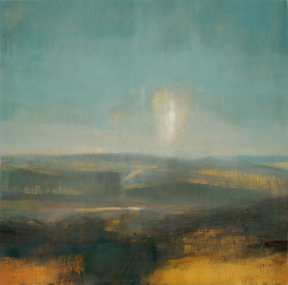 David Scott Moore  Title: South Downs Landscape Mill Hill I  Size: 70 x 70 cm  Medium: Oil on birch panel  Price £2200   Buy Now
