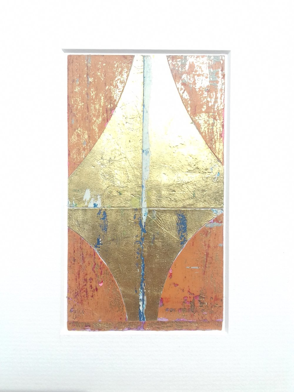 Artist: Alan McLeod  Title: Begin Again  Size: 13 x 8 cm  Medium: Gouache and metal leaf on paper  Price: £220   Buy Now