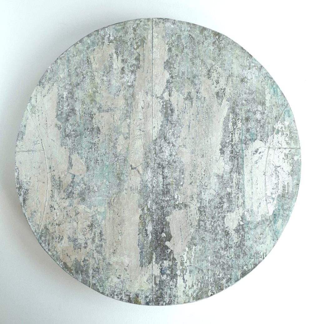 Artist: Alan McLeod  Title: Moon Disc  Size: 34 cm dia  Medium: Gouache and silver leaf  Price: £395   Buy Now