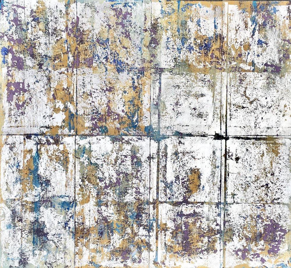 Artist: Alan McLeod  Title: Silver Texture  Size: 39 x 39 cm  Medium: Gouache and silver leaf on paper  Price: £345   Buy Now