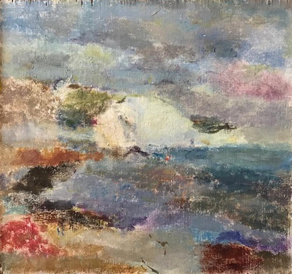 Artist: Anja Niedring  Title: Saltdean Dusk  Size: 24 x 25 cm  Medium: Oil on board  Price: £550   Buy Now