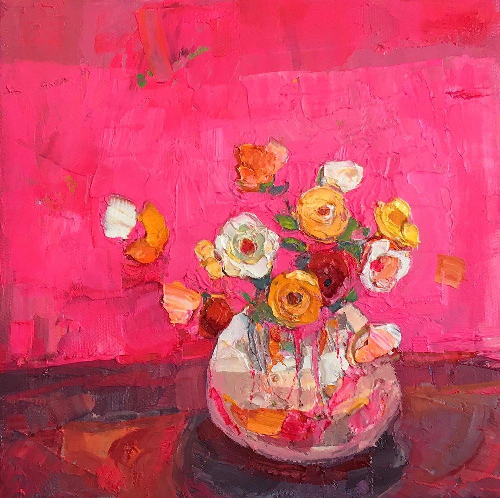 Title: In Fuschia  Medium: oil on canvas  Size: 20 x 20cm  Price: £900
