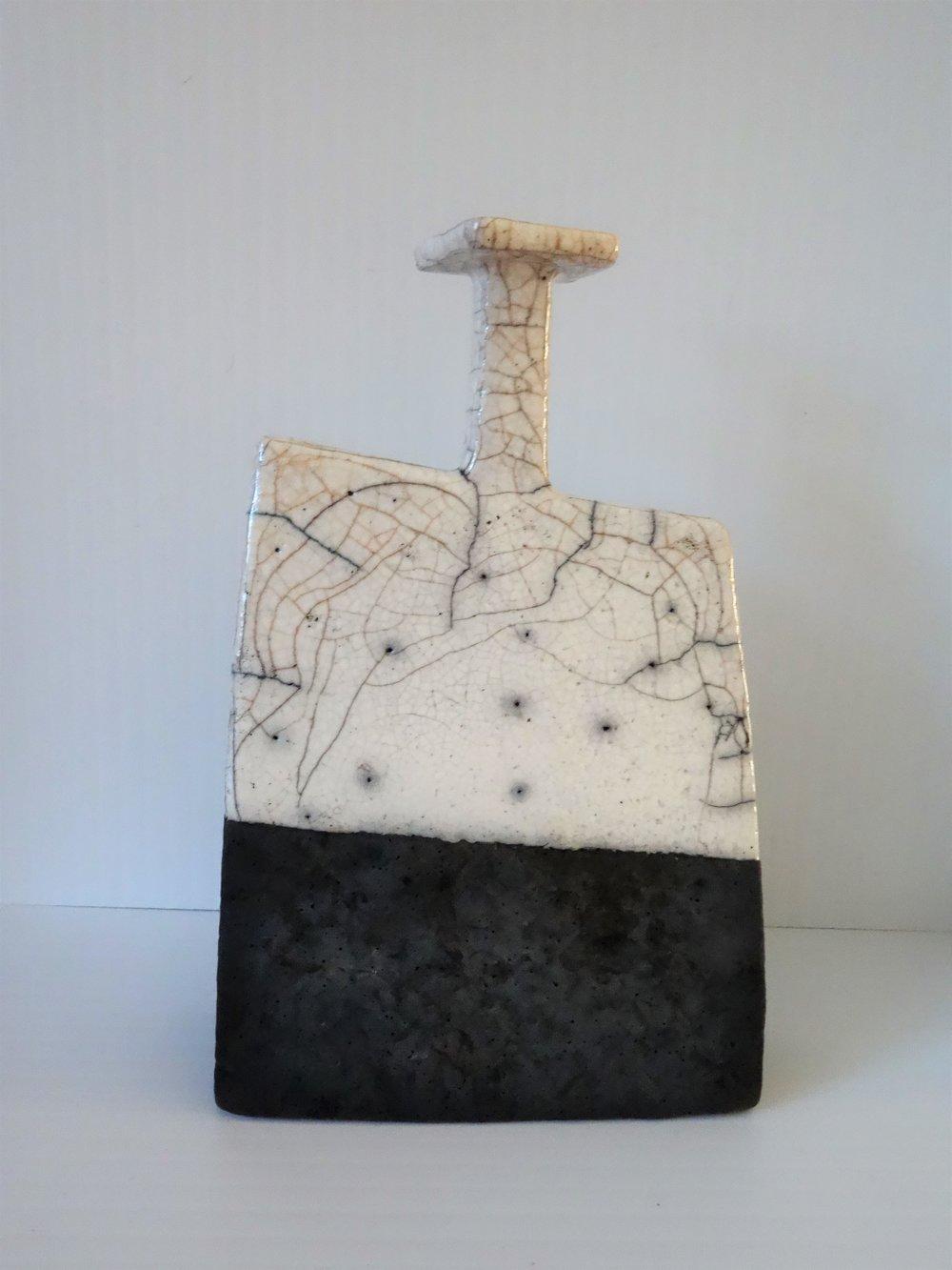 Title: Black and White Raku Bottle (square top) Size: 14 cm (h) x 9 cm (w) Medium: Raku Price: £110
