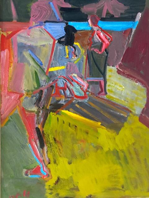 Artist: Luke Hannam  Title: Swimming at Sawkill Creek  Size: 122 x 91 cm  Medium: Oil on canvas  SOLD