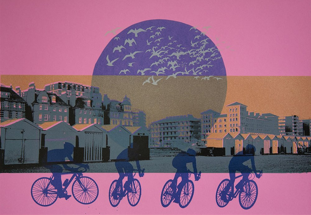Artist: Anne Mendelow  Title: Hove Seafront - Four Cyclists  Size: 30 x 50 cm  Medium: Screenprint edition of 10  Price: £250   Buy Now
