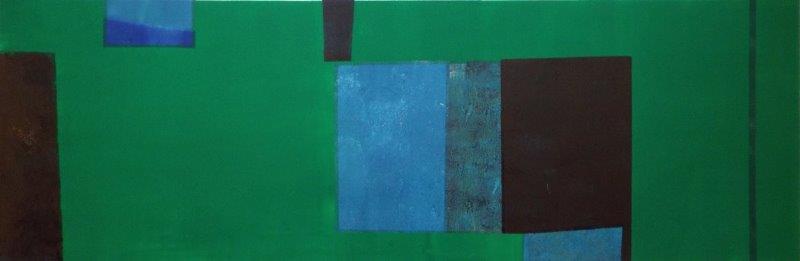 Artist: Hetty Haxworth  Title: Land Breaking Against the Sky  Size: 32 x 95 cm  Medium: Monoprint  SOLD