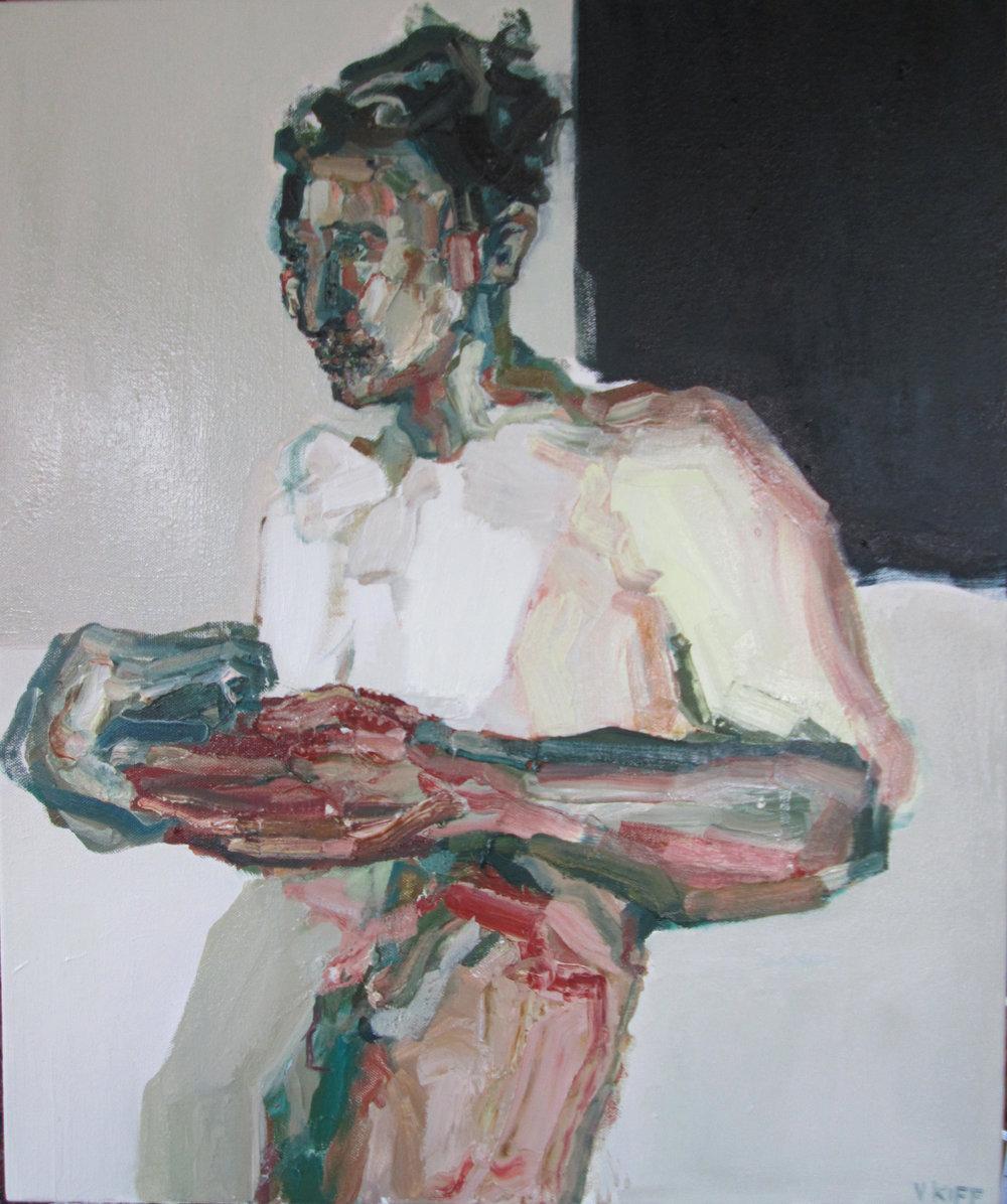 Artist: Victoria Kiff  Title: In Transit  Size: 62 x 52 cm  Medium: Oil on canvas  SOLD