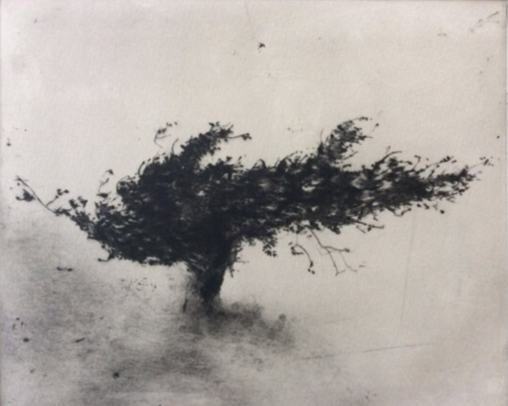 """Artist: Linda Felcey  Title: 50deg51'54""""N-0deg2'56""""E  Size: 49 x 44 cm, framed size  Medium: Copper Drypoint  Price: £520   Buy Now"""