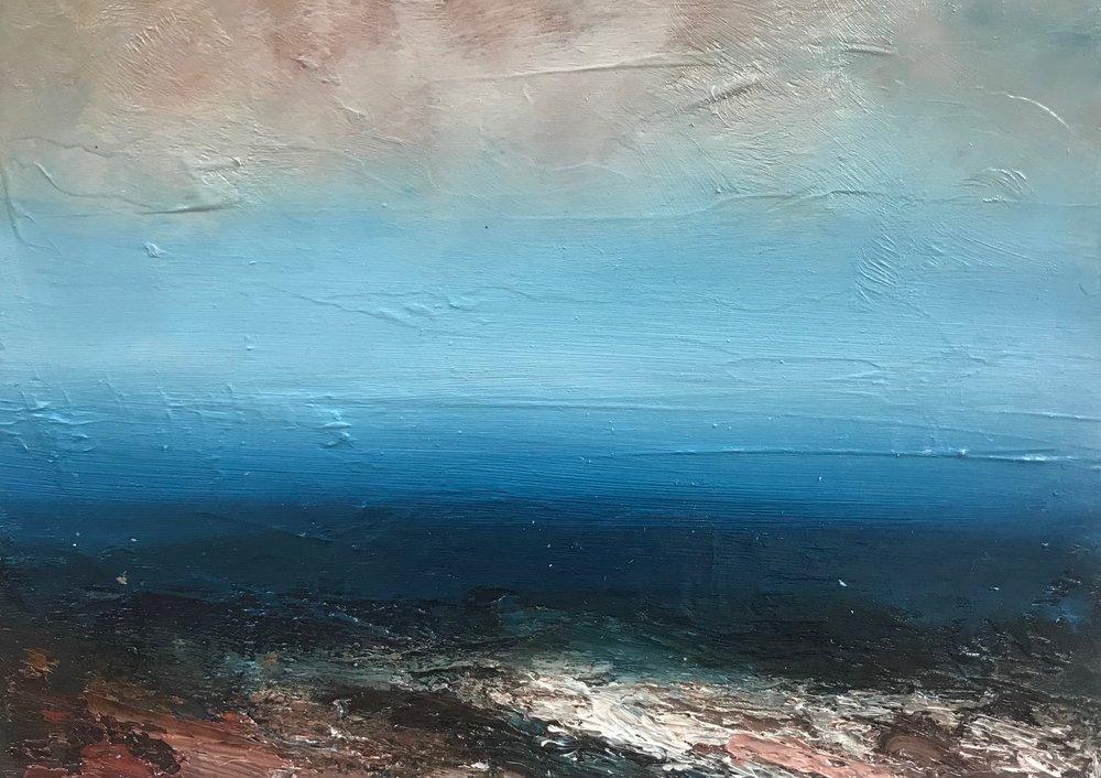Title: Seascape 1  Size: 28 x 20 cm (framed size 55 x 47 cm)  Medium: Oil on panel  Price: £360   Buy Now