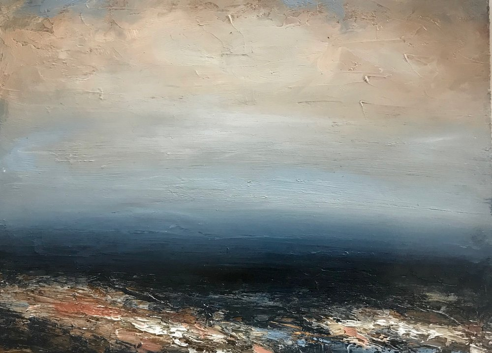 Title: Seascape 3  Size: 28 x 20 cm (framed size 55 x 47 cm)  Medium: Oil on panel  Price: £360   Buy Now