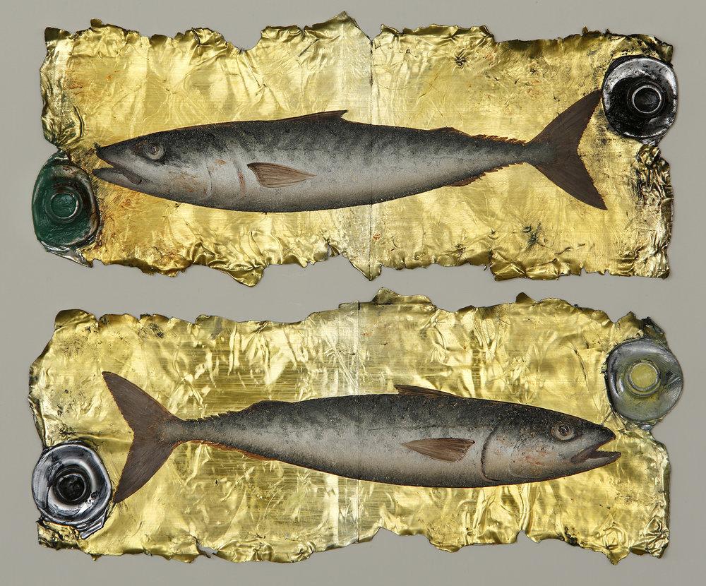 Artist: Donald Provan  Title: Double Mackerel  Size: 34 x 37 cm  Medium: Oil on paint tubes  Price: £1500   Buy Now