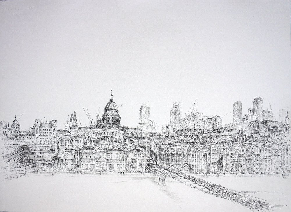 Artist: Solange Leon Iriarte  Title: Room With a View  Size: 56 x 76 cm  Medium: Ink and pencil on Arches paper  Price: £1850   Buy Now
