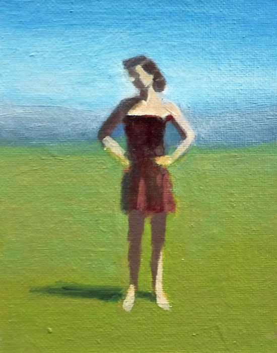 Artist: David Storey  Title: Woman Standing ( Hands on Hips)  Size: 10cm x 13cm  Medium: egg tempera and oil on panel  Price: £550