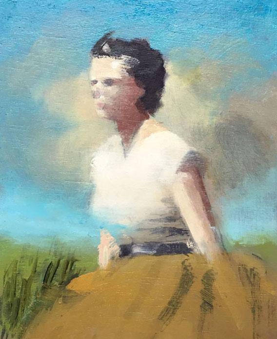 Artist: David Storey  Title: Summer Figure  Size: 10cm x 13cm  Medium: egg tempera and oil on panel  Price: £550