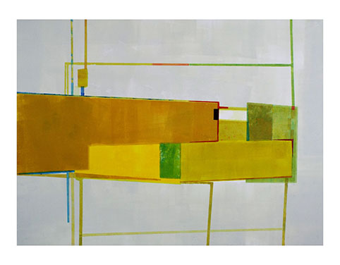Artist: Hetty Haxworth  Title: Sharp Sunlight, Daffodils and Gorse  Size: 112cm x 88cm  Medium: monoprint  Price: £1850 framed price