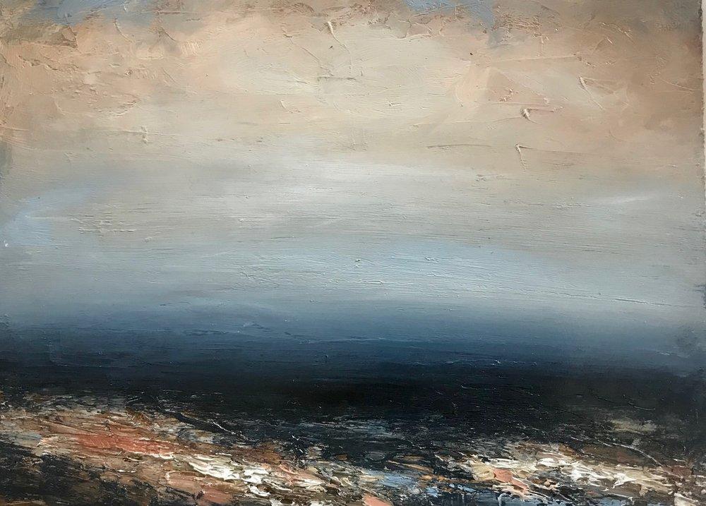 Artist: Hannah Ludnow  Title: Seascape III  Size: 20 x 48cm  Medium: oil on canvas  Price: £360