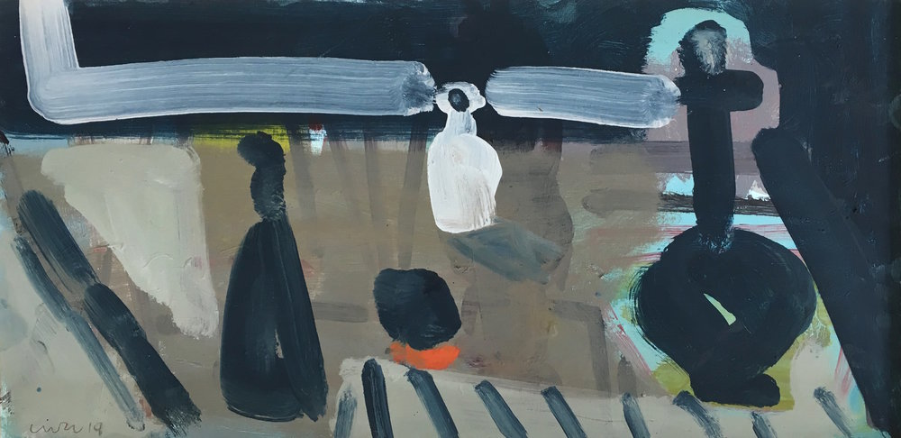 Artist: Luke Hannam  Title: The White Pot  Size: 37cm x 68cm  Medium: oil on board  Price: £1650