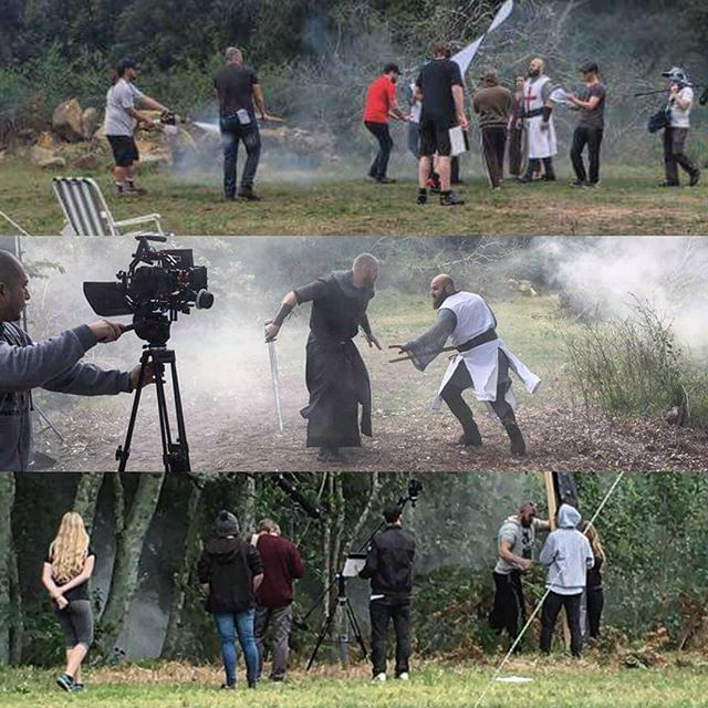 A few more behind the scenes shots from Lancelot Rises. Directed by Justin Banks. Director of Photography Roy Sherfan. #cinematographerlife #cinematography #filmmaking #filmmaker #gh4 #rokinon #anamorphic #3axisgimbal #smokemachine #lancelot
