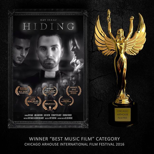 "I am proud to announce that Ray's Music Video ""Hiding"" has just won the special award category for ""Best Music Film"" at the 2016 Blow-up Chicago Arthouse International Film Festival.  I don't know what else to say at this point. Lost for words. Great job everyone. Ray Isaac Ozzy, Gil Ben-Moshe, Alison Kohlhardt, Ama Garatshun, Stjohn Peter Axbey, Deborah Webber, Luke Hilton  #cinematography #filmmaking #dop #directorofphotography #gh4 #rokinon #musicvideodirectors #musicvideo"