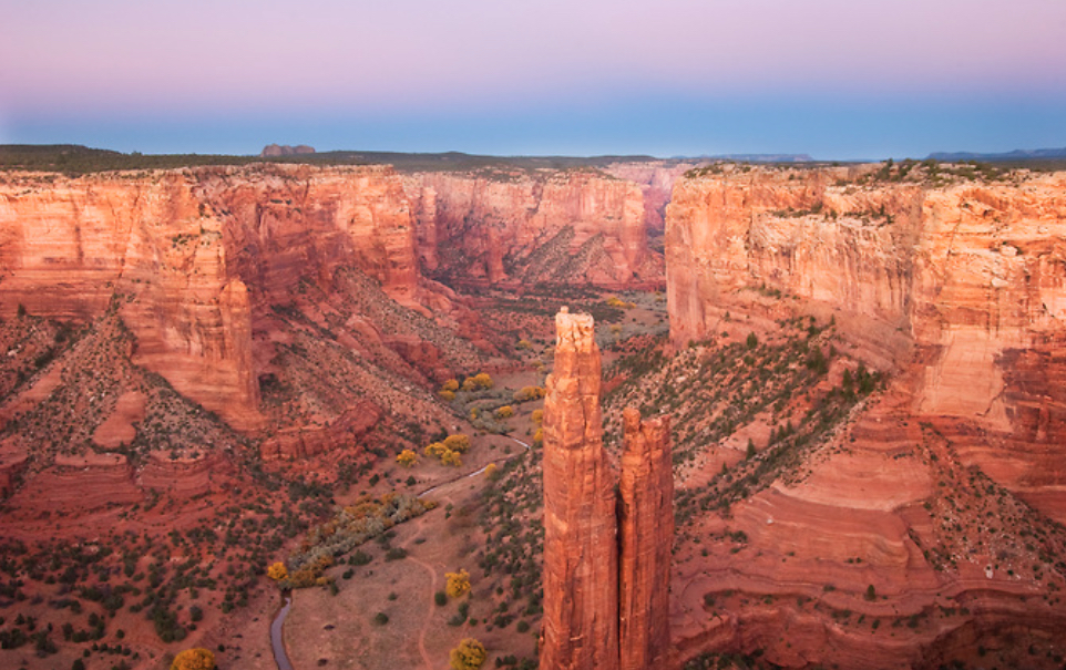 Canyon de Chelly, Arizona. Navajo legend says that Spider Woman, associated with the emergence of life and teaching the art of weaving, took up residence here and her web stretched between the spires.