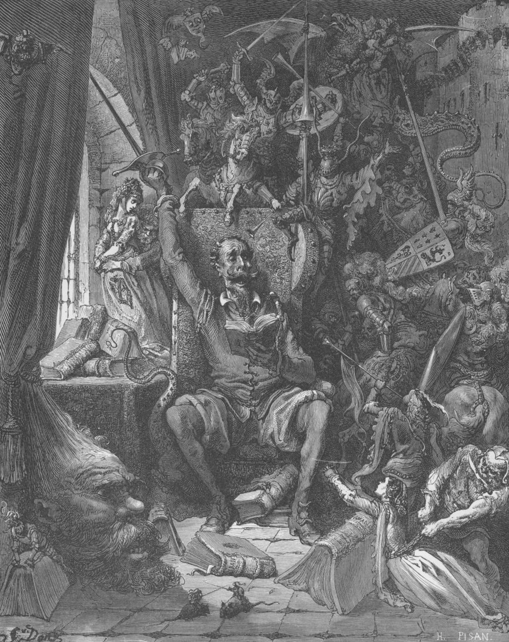"Image: One of Gustave Doré's Illustrations from Cervantes's classic Don Quixote ""A world of disorderly notions, picked out of his books, crowded into his imagination"""