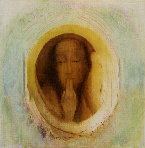 """Image: Silence by Odilon Redon, oil and gesso on paper ca. 1911, France http://ow.ly/zLPPj """"The woman in Odilon Redon's painting…calls us instead to that deepest silence in which the voice of the Wholly Other may be heard"""" -p. 676 The Book of Symbols: Reflections on Archetypal Images"""