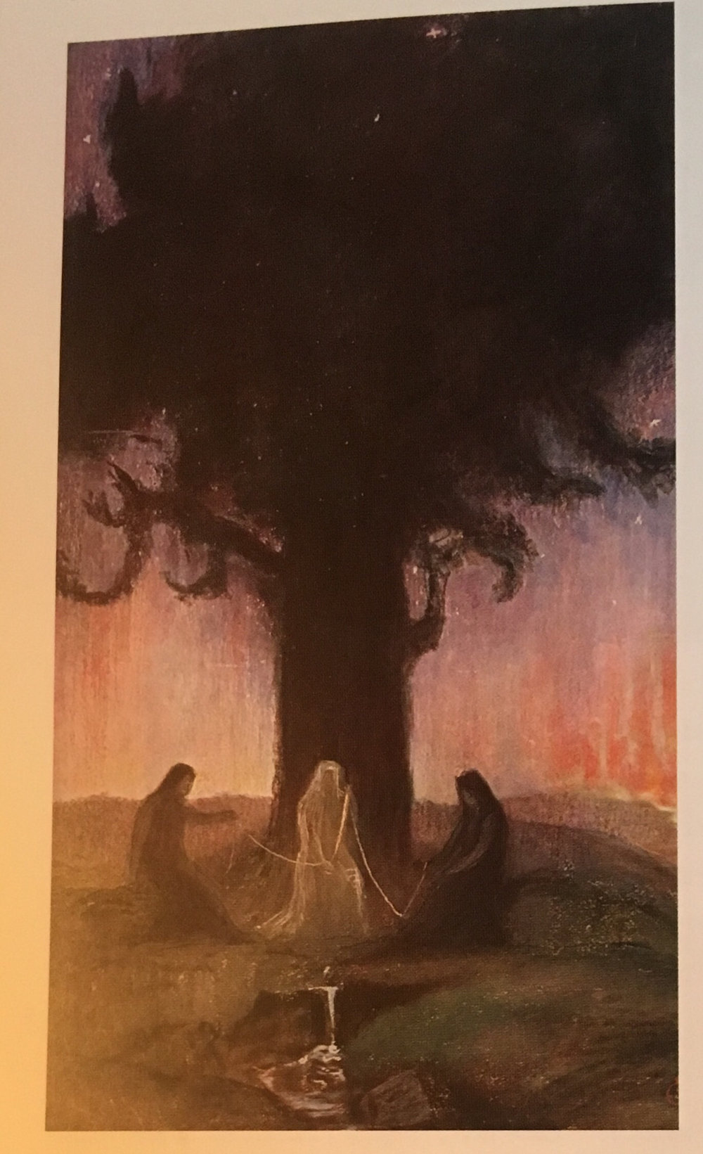 Image: Norns weaving the rope of destiny beside Yggdrasil Source: