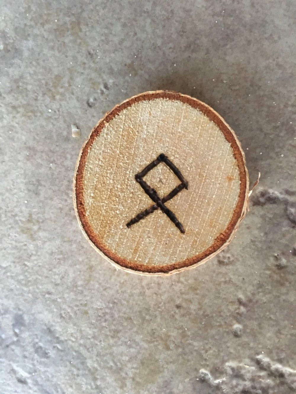 Image: Scribe's woodburned rune 10 June (43)