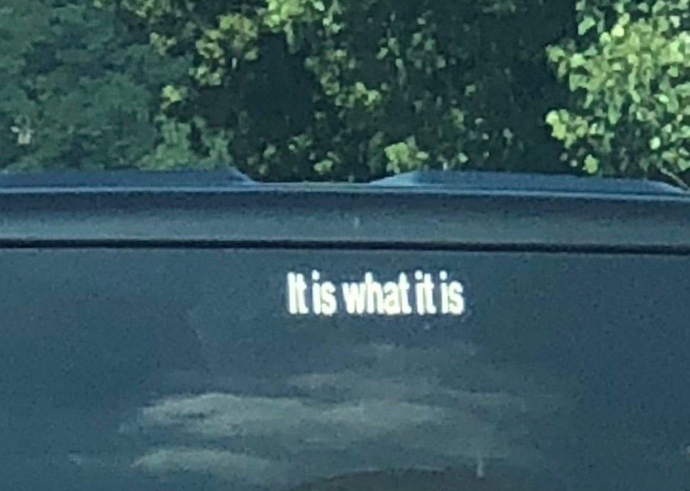 Image: back window vehicle sticker Scribe sees & records on a U.S. highway 25 July (45) [ her daughter took the photo at 10:16 -pure coincidence- while Scribe was driving ]