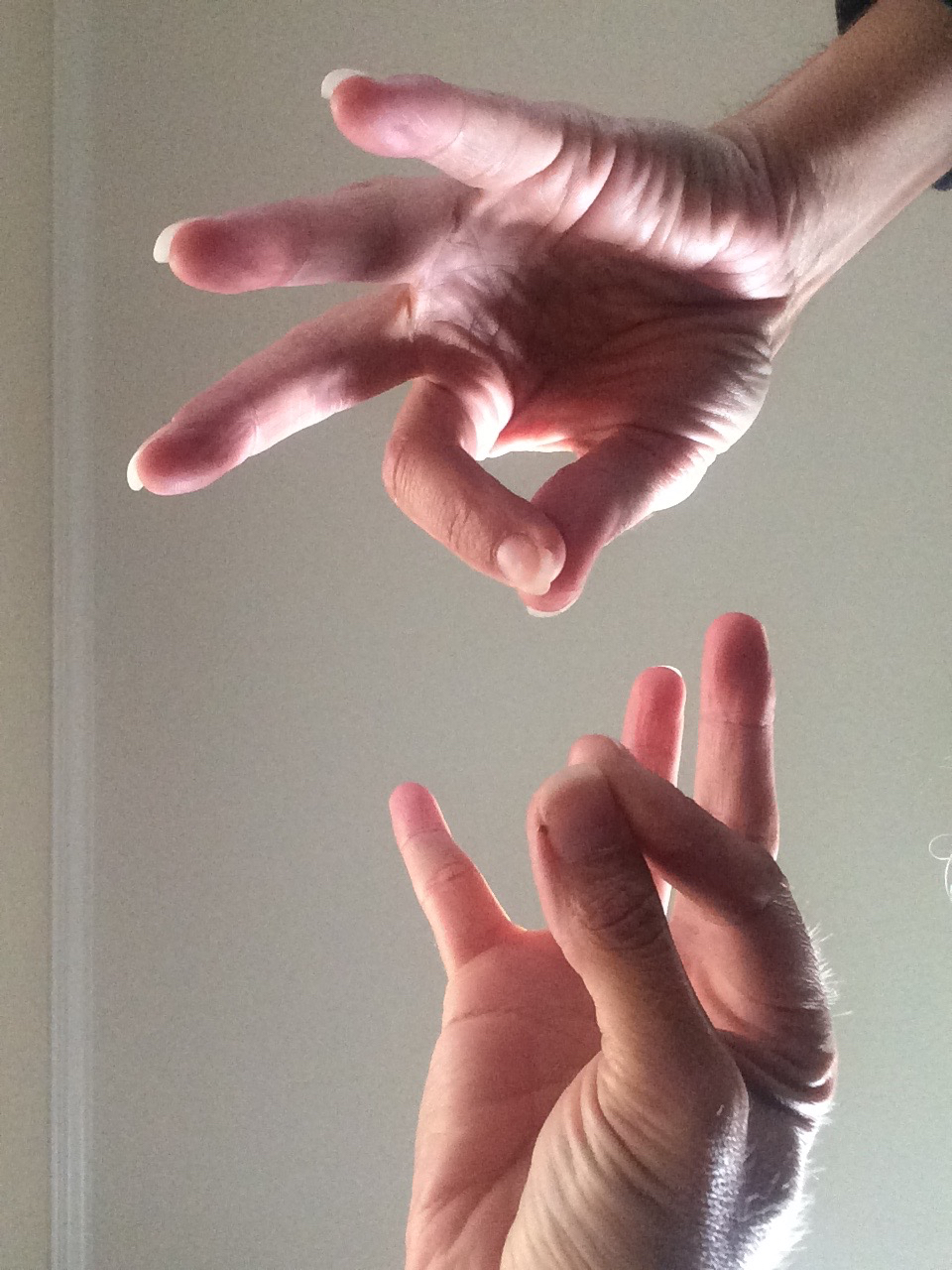 Image: Scribe's hands while she's on a walk on the treadmill 06 November 2015 15:23