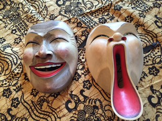 Two Balinese Masks Belinda Mello uses to teach actors how to physically embody characters.