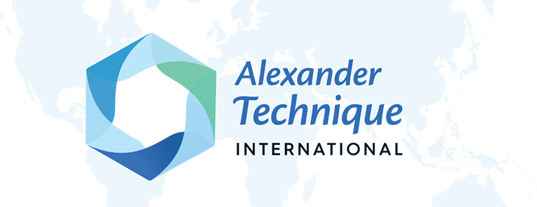 Alexander Technique International's Logo with a blue and green hexagon with the words: Alexander Technique International spelt over an image of the world.