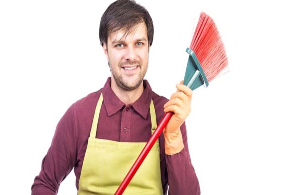 Kevin with his broom
