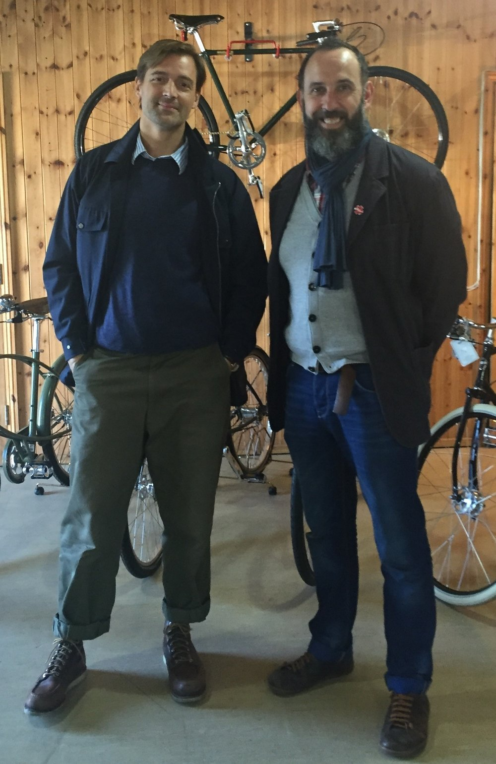 Patrick Grant at The Traditional Cycle Shop with shop manager Fran Martin.