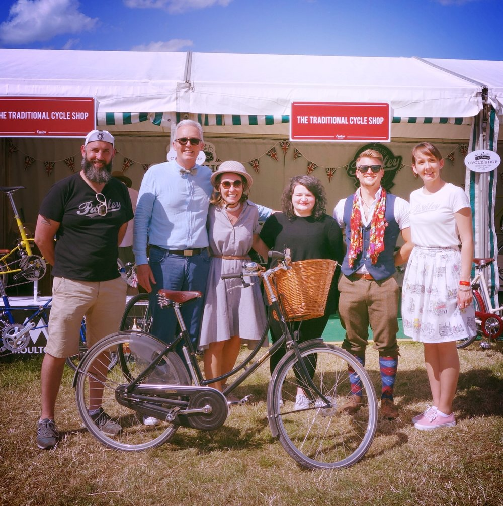From left: Fran, The Traditional Cycle Shop; Adrian, Pashley MD; Monya from Brazil; Hannah, Blake and Chloe - all from Pashley.