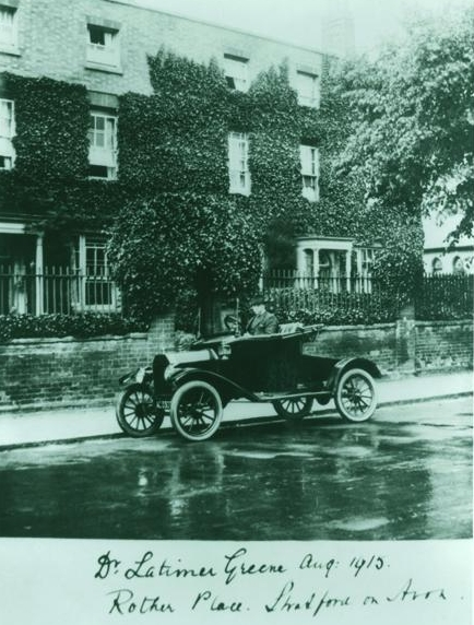 Dr Greene in his Model T Ford outside Rother Place