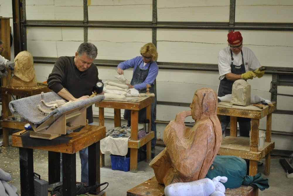 Students Carving in the studio at John Leon Sculpture Classes