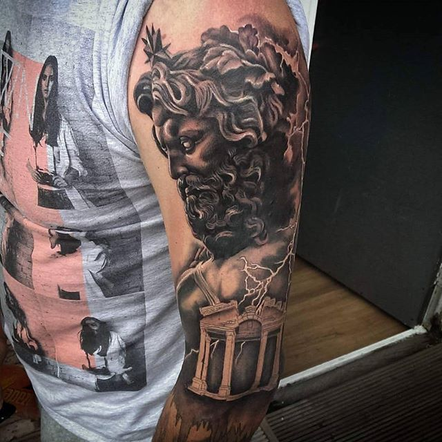 Great piece by our artist @josheavestattoos nearly completed this awesome Greek mythology sleeve! More to come still, @barber_dts @elgatonegrotatt @ezcartridgecouk
