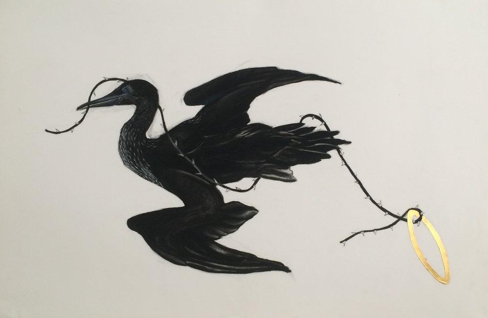 "Bird Halo 24""x38"" (charcoal,gold leaf)"