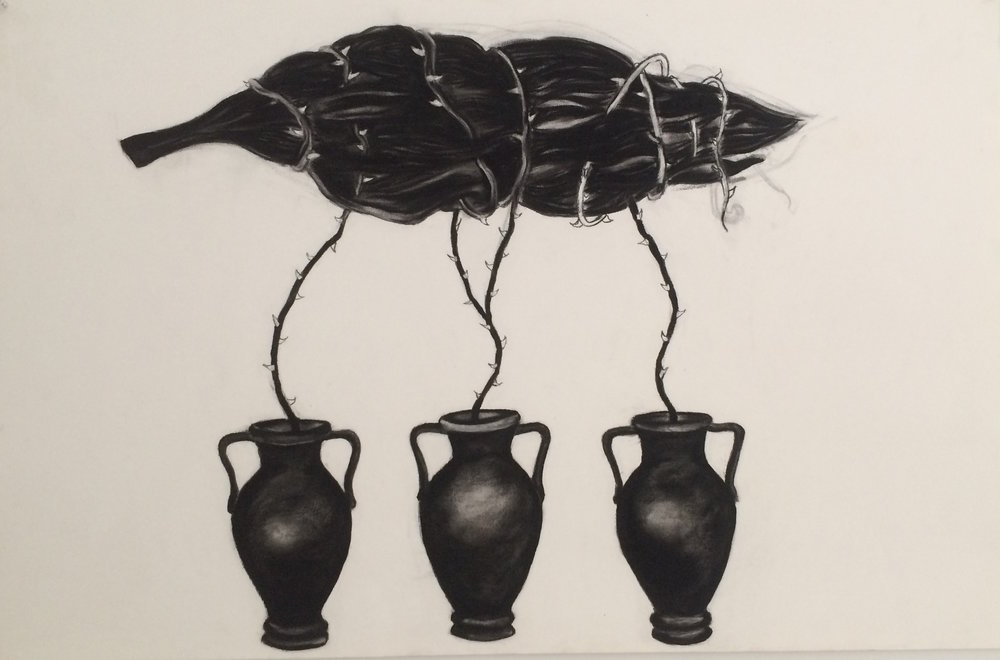 "Floating Tree Urns 24""x38"" (charcoal)"