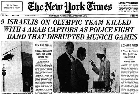 New York Times headline about the Munich Olympics attack in 1972.
