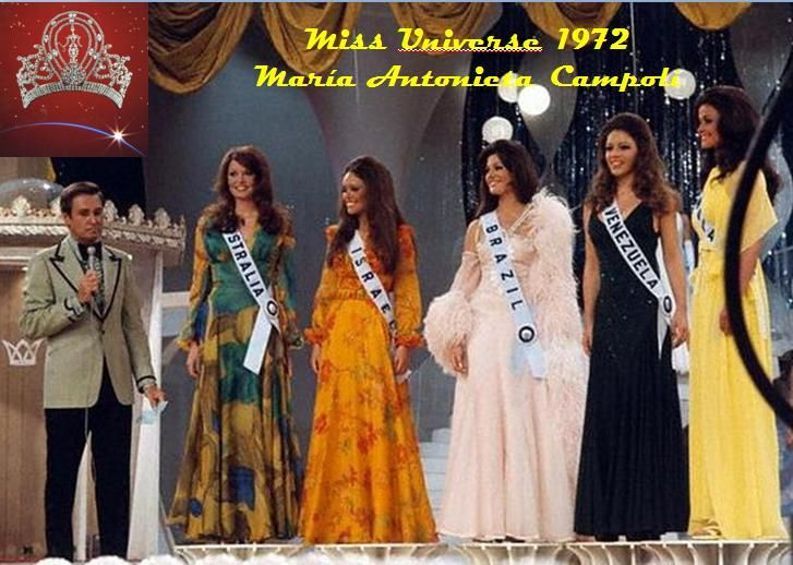 Miss Universe 1972 without the attendance of Georgina Rizk. Note that Miss Israel is in this photo.