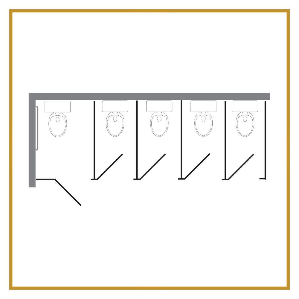 4 Regular Stalls + 1 ADA Stall