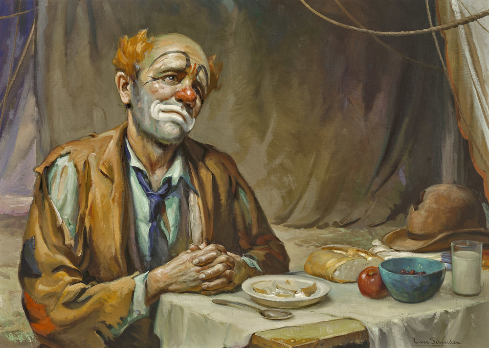 Clown, Says Grace,  by Christian von Schneidau (1893 - 1976)    30 x 42 inches, oil on canvas    Class of Summer 1951    Conservation is funded by alumni of Classes 1950 to 1953