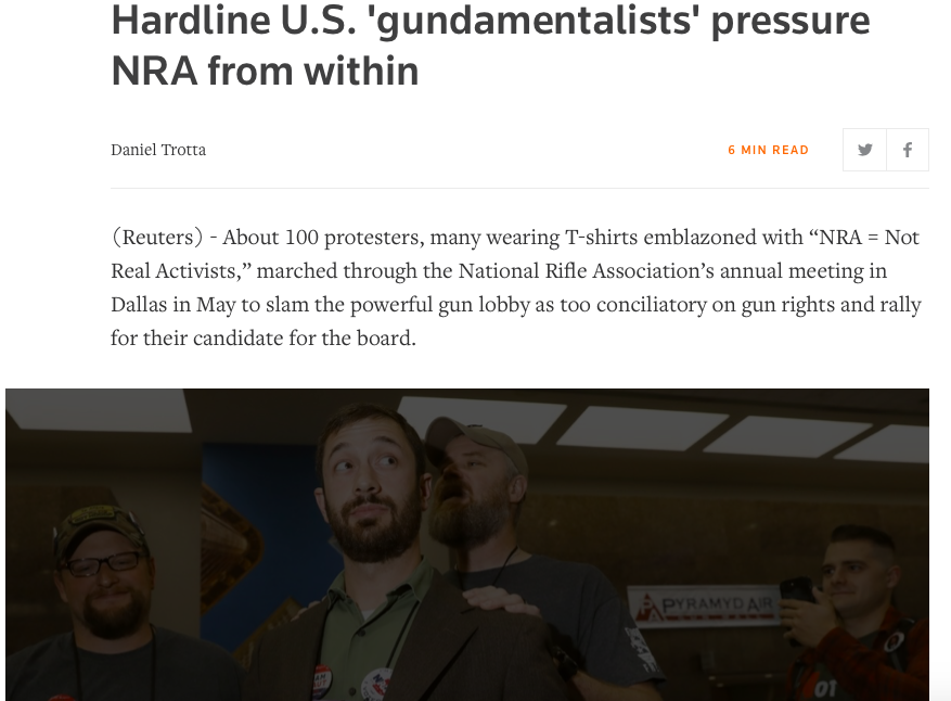Hardline U.S. 'gundamentalists' pressure NRA from within