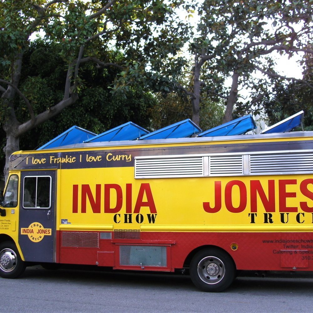 "India Jones 10a-8p   India Jones Chow Trucks are gourmet food trucks serving authentic Indian street food throughout Greater Los Angeles and Beach cities. The well respected Chef Sumant Pardal, the owner, hails from a family of restaurateurs in India and has been cooking for 38 years. Now, at India Jones, he specializes in Indian street food, particularly frankies: a roti is wrapped around fillings like lamb, paneer and mushrooms to form what the Zagat Guide's blog calls ""the Indian equivalent of a burrito.""     Website >"