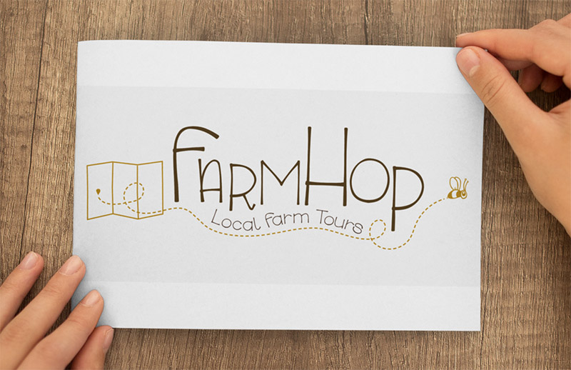 FarmHop Logo - NWI Food CouncilWe designed this whimsical logo for NWI Food Council's annual FarmHop — a series of tours of local farms.