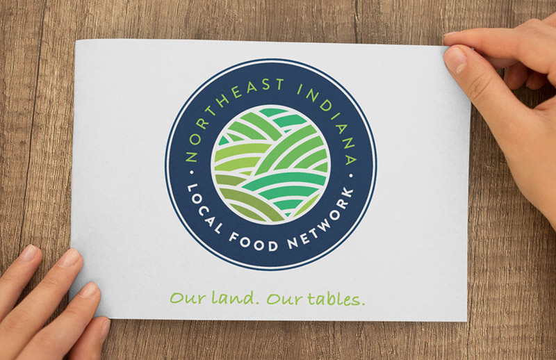 Non-Profit Logo - Northeast Indiana Local Food NetworkWe worked with Roy Serafin to develop a logo and tagline for the Northeast Indiana Local Food Network, a local food nonprofit.